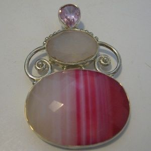 Sterling Silver 925 Pink Stripe Pendant